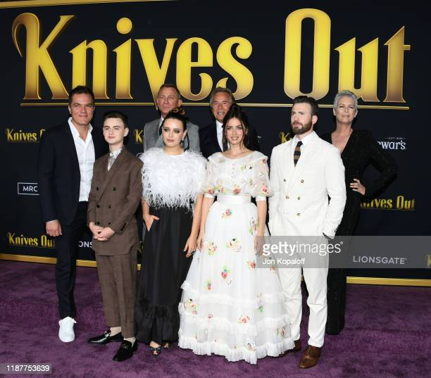 Michael Shannon Jaeden Martell Daniel Craig Katherine Langford Don Johnson Ana de Armas Chris Evans and Jamie Lee Curtis attend the premiere of...