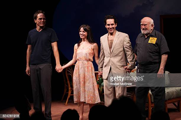Michael Shannon Kate Arrington Paul Rudd and Ed Asner during the Opening Night Performance Curtain Call for 'Grace' at the Cort Theatre in New York...