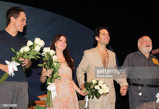 Michael Shannon Kate Arrington Paul Rudd and Ed Asner take the opening night curtain call for Grace on Broadway at the Cort Theatre on October 4 2012...