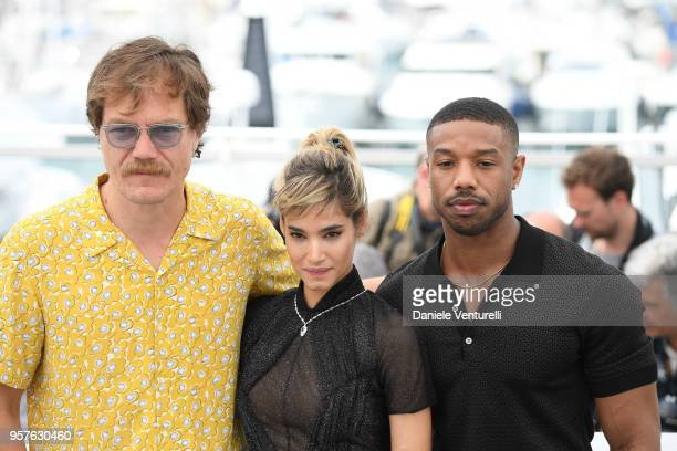 Michael Shannon Sofia Boutella and Michael B Jordan attend the photocall for the Farenheit 451 during the 71st annual Cannes Film Festival at Palais...