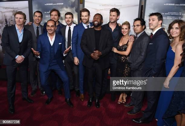Michael Shannon Trevante Rhodes Michael Shannon Chris Hemsworth Elsa Pataky Michael Pena and Allison King pose with the cast and crew at the world...
