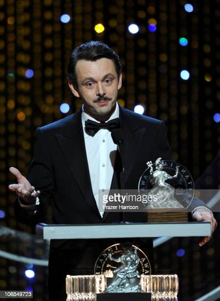 Michael Sheen accepts The Britannia Award for British Artist of the Year onstage during the BAFTA Los Angeles 2010 Britannia Awards held at the Hyatt...