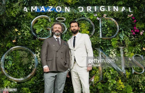 Michael Sheen and David Tennant attend the Global premiere of Amazon Original Good Omens at Odeon Luxe Leicester Square on May 28 2019 in London...