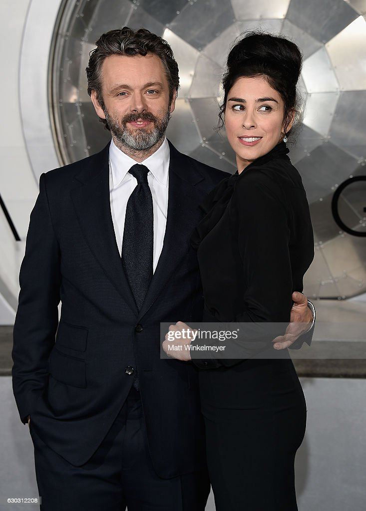 Michael Sheen and Sarah Silverman attend the premiere of Columbia Pictures' 'Passengers' at Regency Village Theatre on December 14, 2016 in Westwood, California.