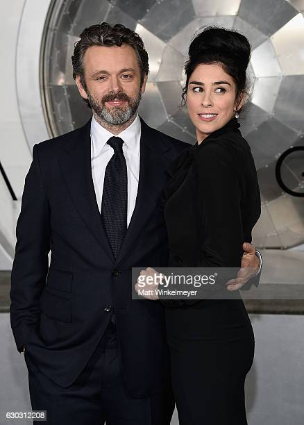 Michael Sheen and Sarah Silverman attend the premiere of Columbia Pictures' Passengers at Regency Village Theatre on December 14 2016 in Westwood...
