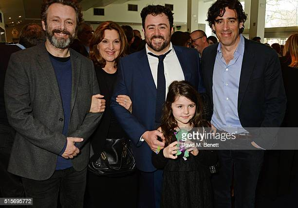Michael Sheen Barbara Broccoli Celyn Jones daughter Greta and Stephen Mangan attend the 2016 Into Film Awards at Odeon Leicester Square on March 15...