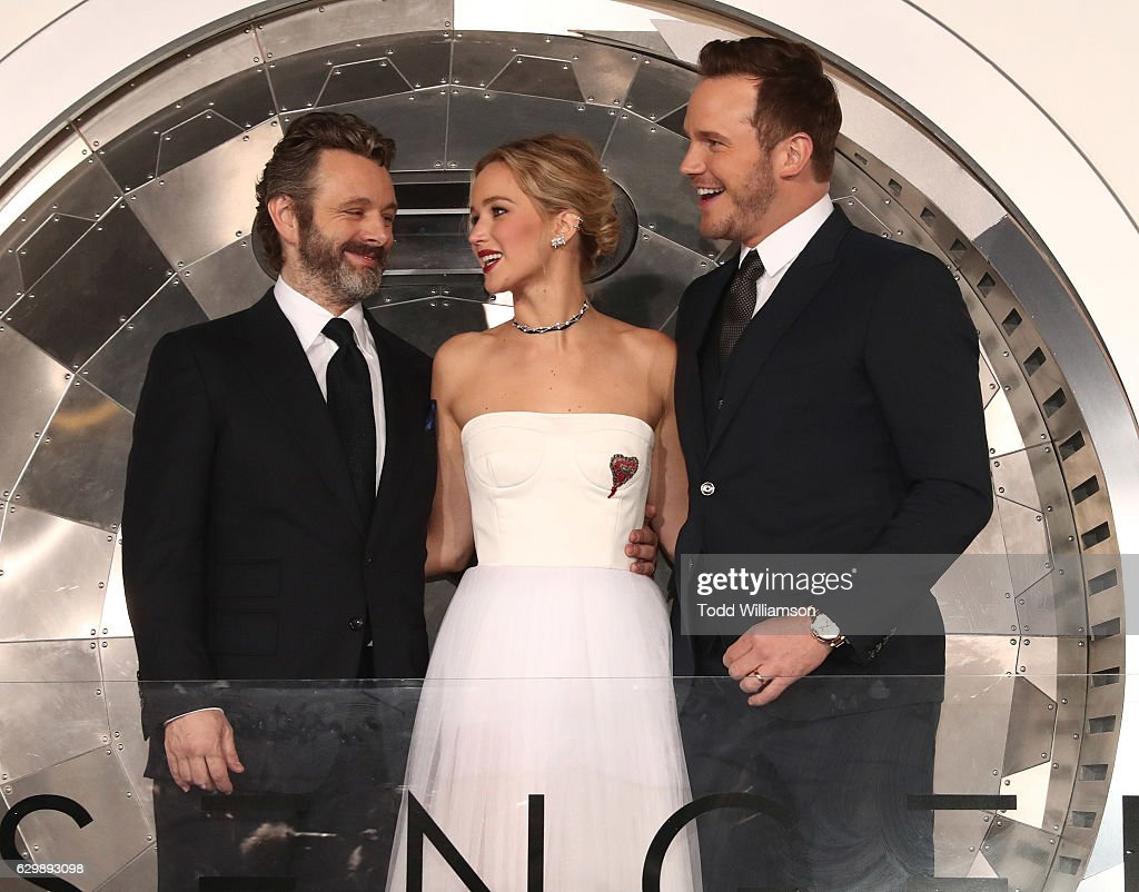 Michael Sheen, Jennifer Lawrence and Chris Pratt attend the premiere of Columbia Pictures' 'Passengers' at Regency Village Theatre on December 14, 2016 in Westwood, California.