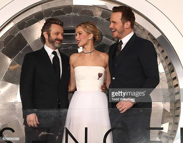 """Michael Sheen, Jennifer Lawrence and Chris Pratt attend the premiere of Columbia Pictures' """"Passengers"""" at Regency Village Theatre on December 14,..."""
