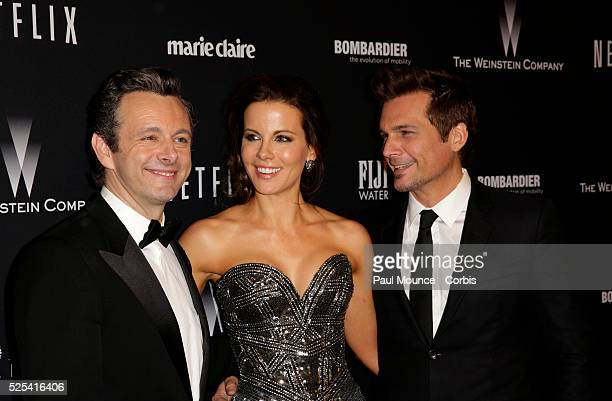 Michael Sheen Kate Beckinsale and her husband director Len Wiseman arrive at the Weinstein Company Golden Globes AfterParty