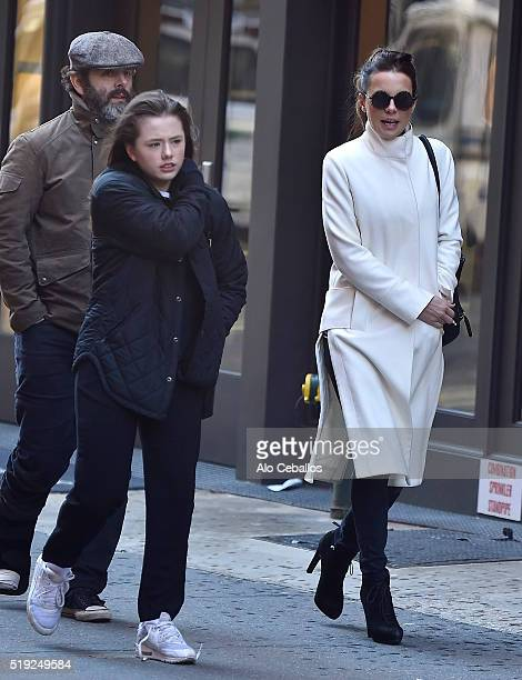 Michael Sheen Lily Mo Sheen and Kate Beckinsale on April 5 2016 in New York City