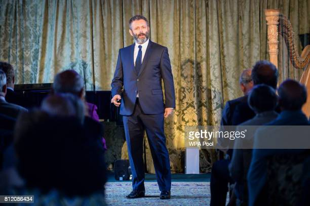 Michael Sheen performs perform for Prince Charles Prince of Wales at his Welsh home near Llandovery where he is hosting a music and drama evening...