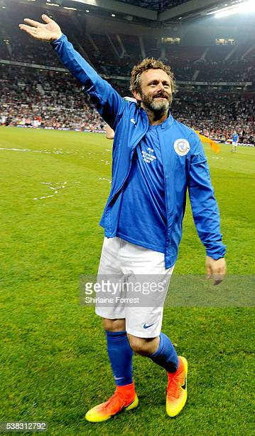 Michael Sheen plays during Soccer Aid at Old Trafford on June 5 2016 in Manchester England