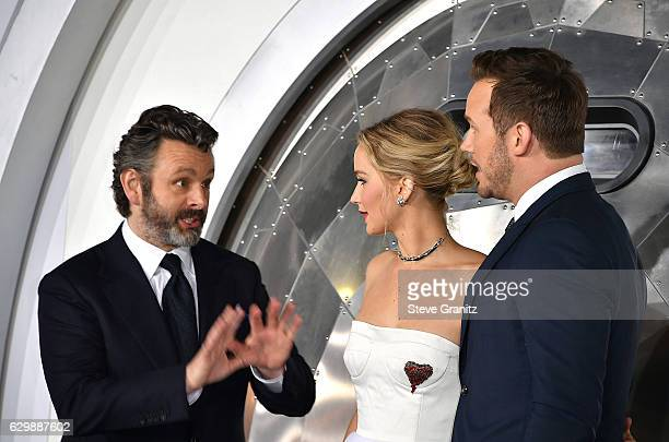 "Michael Sheen;Jennifer Lawrence;Chris Pratt arrives at the Premiere Of Columbia Pictures' ""Passengers"" at Regency Village Theatre on December 14,..."