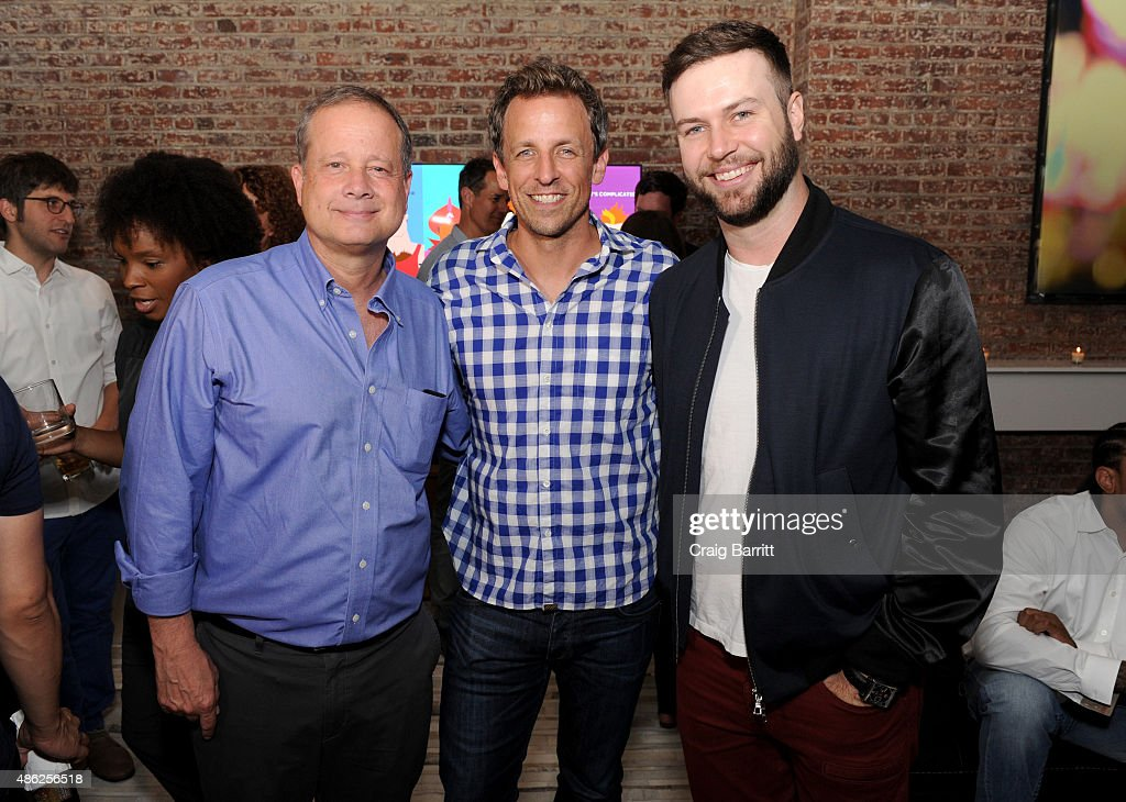 Michael Shoemaker, Seth Meyers and Taran Killam attend 'The Awesomes' Season 3 Premiere Party & Screening at Microsoft Lounge on September 2, 2015 in New York City.