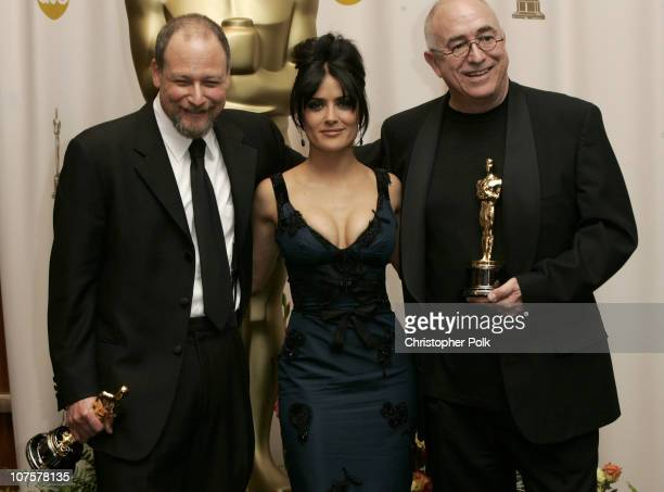 Michael Silvers and Randy Thom winners Best Sound Editing for The Incredibles with presenter Salma Hayek
