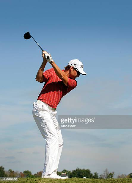 Michael Sim takes a practice swing before hitting a drive during the final round of the Nationwide Tour Championship at Daniel Island Club on October...