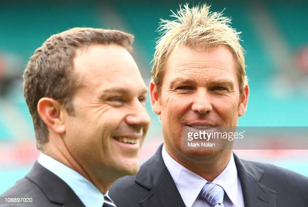 Michael Slater and Shane Warne pose for a photo during the Channel Nine 2010/11 Ashes Series launch at the Sydney Cricket Ground on November 16 2010...