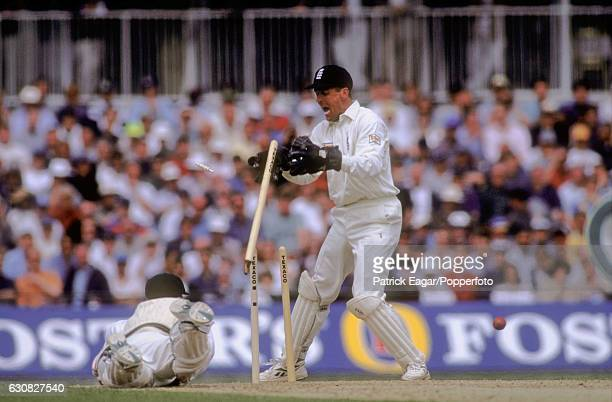 Michael Slater of Australia dives for the crease but is run out for 1 run during the 2nd Texaco Trophy One Day International between England and...