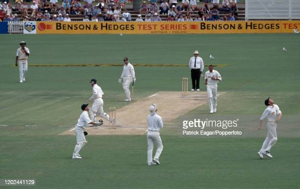 Michael Slater of Australia is caught for 67 runs by Mike Atherton of England off the bowling of Phillip DeFreitas during the 4th Test match between...