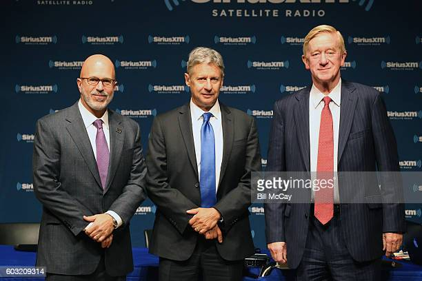 Michael Smerconish, Presidential Candidate Governor Gary Johnson and Vice Presidential Candidate Governor William Weld attend the SiriusXM...