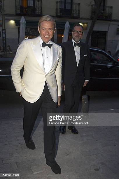 Michael Smith and James Costos attend the interior decorator Michael S. Smith's 52th birthday party at Fernan Nunez palace on May 21, 2016 in Madrid,...