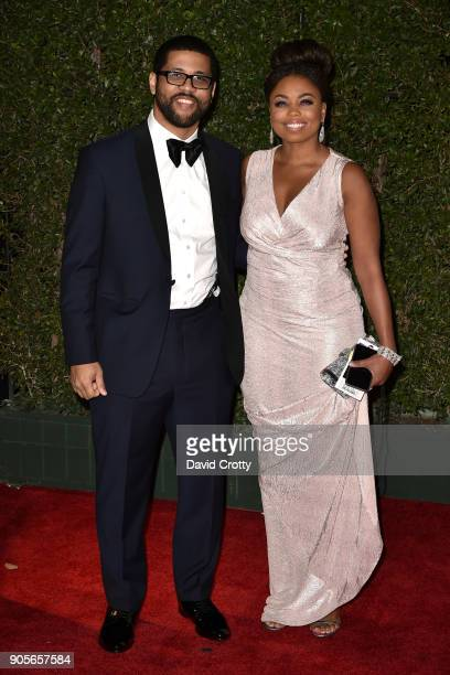 Michael Smith and Jemele Hill attends the 49th NAACP Image Awards Arrivals at Pasadena Civic Auditorium on January 15 2018 in Pasadena California