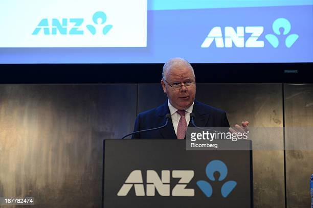 Michael Smith chief executive officer of Australia New Zealand Banking Group Ltd speaks during a news conference in Melbourne Australia on Tuesday...