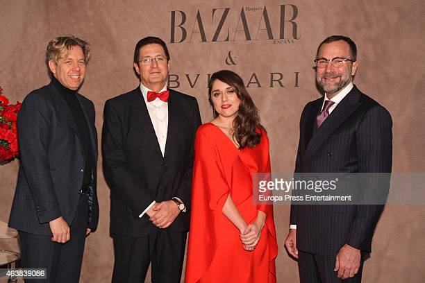 Michael Smith , Eugenia de la Torriente and James Costos attend Harper's Bazaar party at USA Embassy on February 18, 2015 in Madrid, Spain.