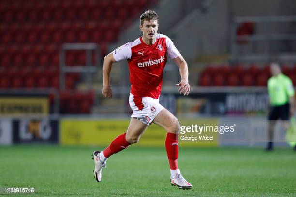 Michael Smith of Rotherham United in action during the Sky Bet Championship match between Rotherham United and Brentford at AESSEAL New York Stadium...