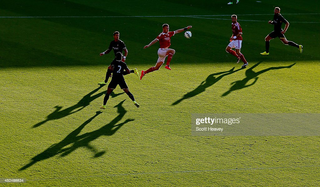 Michael Smith of Swindon controls the ball during the Pre Season Friendly between Swindon Town and Southampton on July 21, 2014 in Swindon, England.