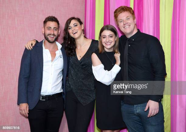 Michael Socha, Kelly Wenham, Georgia Groome and Danny Morgan attend the UK premiere of 'Double Date' at The Soho Hotel on October 10, 2017 in London,...