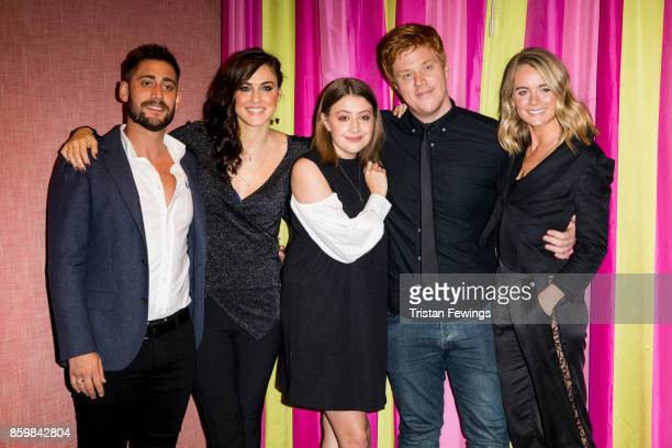 Michael Socha, Kelly Wenham, Georgia Groome, Danny Morgan and Cressida Bonas attend the UK premiere of 'Double Date' at The Soho Hotel on October 10,...