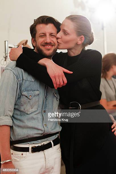 Michael Sontag with a model attends the Lavera Showfloor At MercedesBenz Fashion Week Berlin Spring/Summer 2016 on July 09 2015 in Berlin Germany
