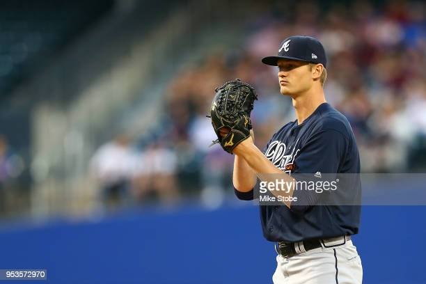 Michael Soroka of the Atlanta Braves pitches in the first inning against the New York Mets in his MLB debut at Citi Field on May 1 2018 in the...