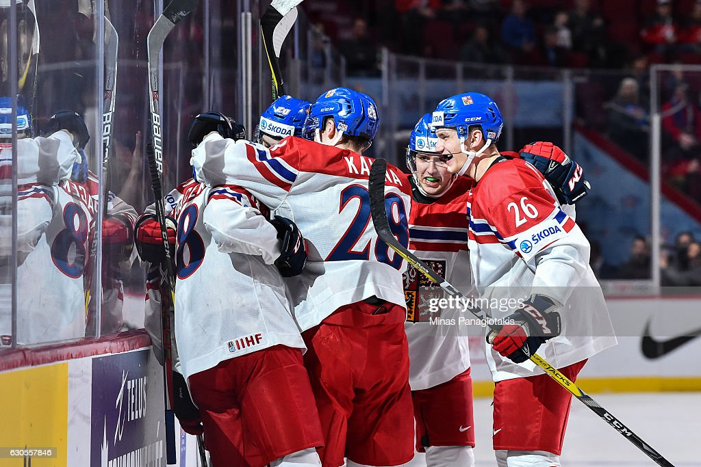Michael Spacek #18 of Team Czech Republic celebrates a late third period goal during the IIHF World Junior Championship preliminary round game against Team Finland at the Bell Centre on December 26, 2016 in Montreal, Quebec, Canada. Team Czech Republic defeated Team Finland 2-1.