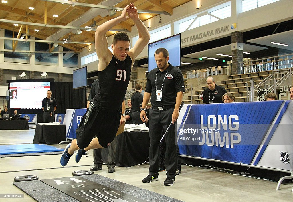 Michael Spacek performs a standing long jump test during the NHL Combine at HarborCenter on June 6, 2015 in Buffalo, New York.