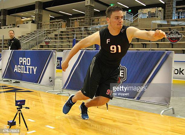 Michael Spacek performs an agility test during the NHL Combine at HarborCenter on June 6 2015 in Buffalo New York