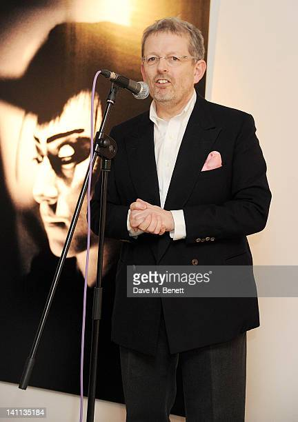 Michael Spencer speaks at a private view of 'Kabuki One Year On' a photographic exhibition by Frederic Aranda to benefit the Japan Society Tohou...