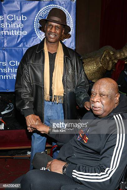 Michael Spinks and Cal Ramsey attend the Cloudy With A Chance of Meatballs 2 Holiday Screening hosted by The Friar's Club at Ziegfeld Theater on...