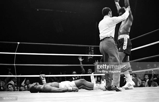 Michael Spinks celebrates winning the fight after knocking out Marvin Johnson at the Resorts International in Atlantic City New Jersey Michael Spinks...