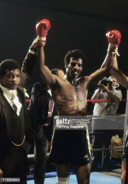 Michael Spinks celebrates winning the fight against Yaqui Lopez at Convention Center in Atlantic City New Jersey Michael Spinks won TKO 7