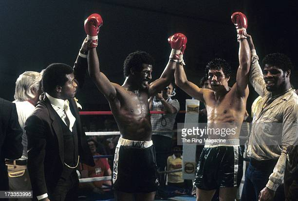 Michael Spinks celebrates with Yaqui Lopez after the fight at Convention Center in Atlantic City New Jersey Michael Spinks won TKO 7