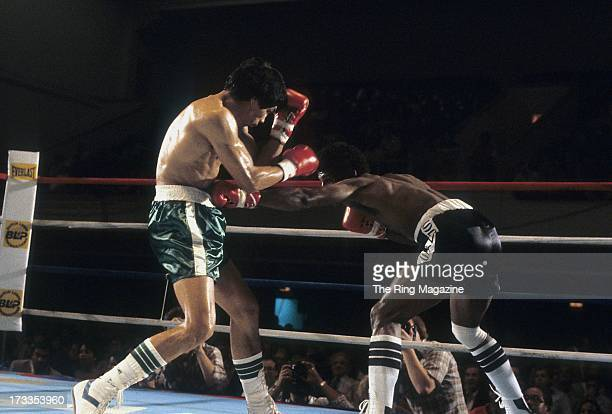 Michael Spinks lands a low blow punch against Yaqui Lopez during the fight at Convention Center in Atlantic City New Jersey Michael Spinks won TKO 7