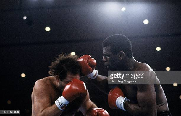 Michael Spinks lands a punch against Steffen Tangstad during the fight at Hilton Hotel in Las Vegas Nevada Michael Spinks won the IBF heavyweight...