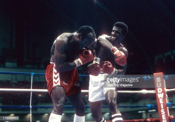Michael Spinks throws a punch against Dwight Muhammad Qawi during the fight at the Convention Center in Atlantic City New Jersey Michael Spinks won...