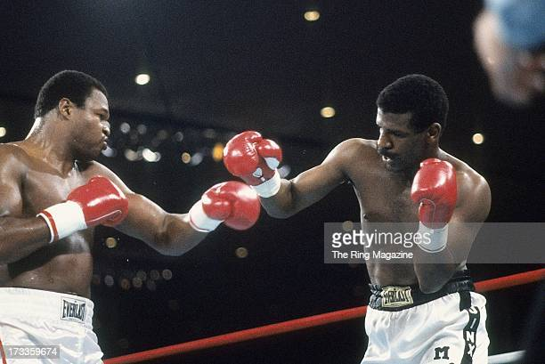Michael Spinks throws a punch against Larry Holmes during the fight at Las Vegas Hilton Hilton Center in Las Vegas Nevada Michael Spinks won the IBF...