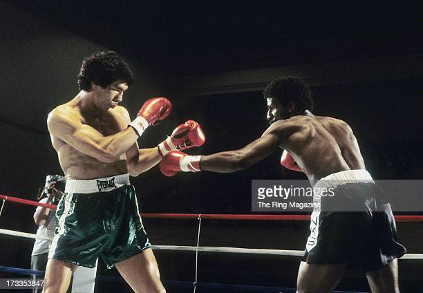 Michael Spinks throws a punch against Yaqui Lopez during the fight at Convention Center in Atlantic City New Jersey Michael Spinks won TKO 7