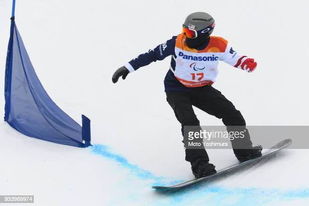 Michael Spivey of the United States competes in the Snowboard Men's Banked Slalom SBUL Run 1 on day seven of the PyeongChang 2018 Paralympic Games on...