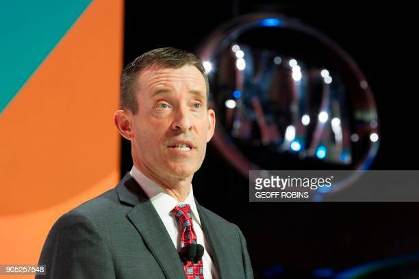 Michael Sprague Chief Operating Officer and Executive Vice President of Kia Motors America speaks during a press conference at the 2018 North...