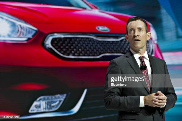 Michael Sprague chief operating officer and executive vice president of Kia Motors America Inc speaks during the 2018 North American International...